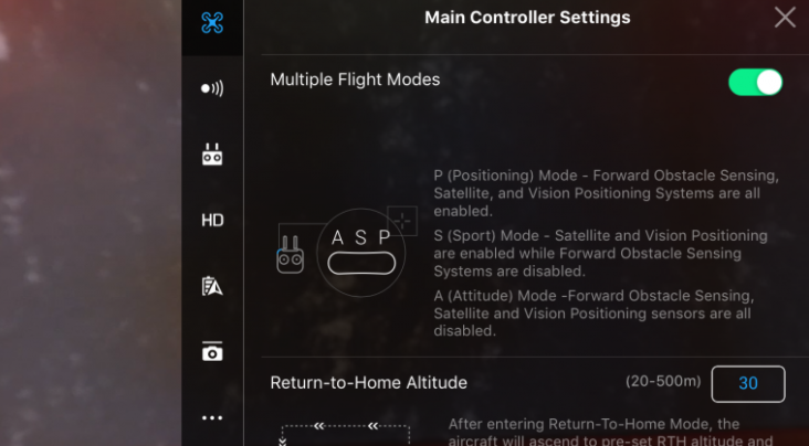 DJI P Mode Main Controller Settings