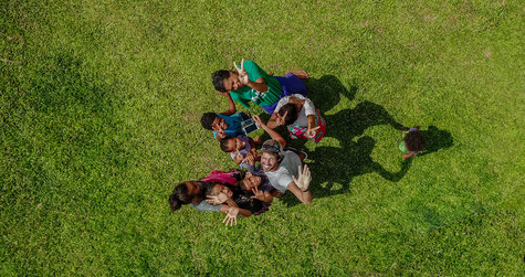 Aerial photo of young people taken from above