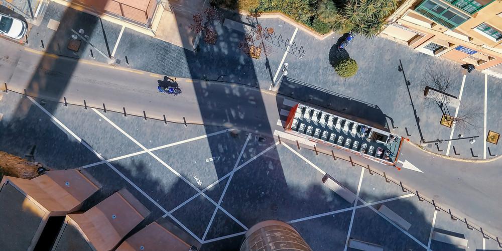 Bus ride aerial photo
