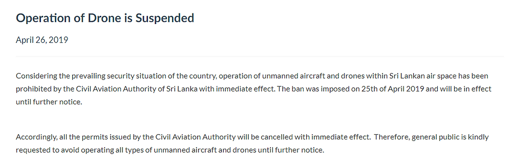Drone Ban Sri Lanka following the Easter Sunday bombings