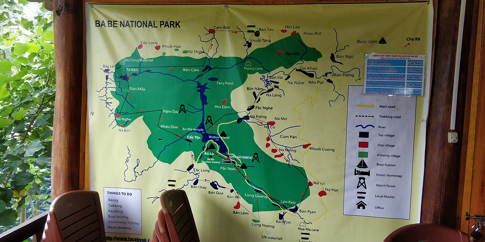 Map of Ba Be National Park Hikes