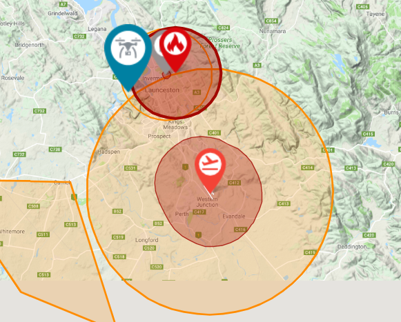 Drone fly map Launceston