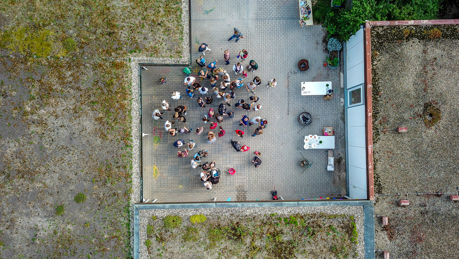 Aerial photo of a large group of people partying