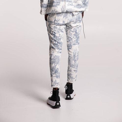 Pantalon chino-sarouel Toile de jouy Unisexe.