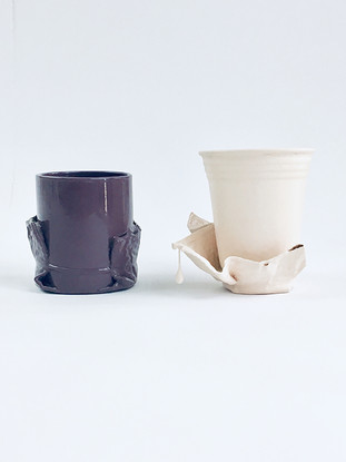 Paper Towel Coaster Cups (Liver and Pink Peony)