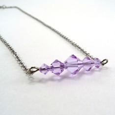 Violet Crystal Bar Necklace