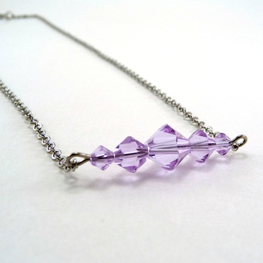 Violet Crystal Bar Necklace
