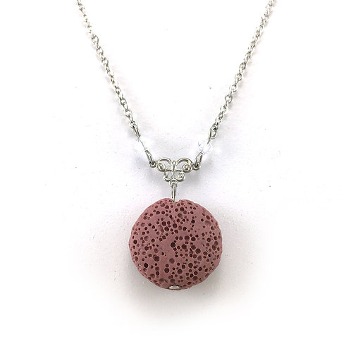 Pink Lava Stone Essential Oil Necklace