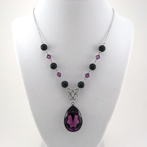 Purple Amethyst Crystal Essential Oil Necklace with Lava Beads