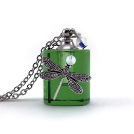 Green Dragonfly Bottle Necklace