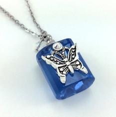 Blue Butterfly Bottle Necklace