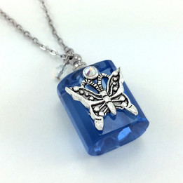 Blue Butterfly Bottle Necklace