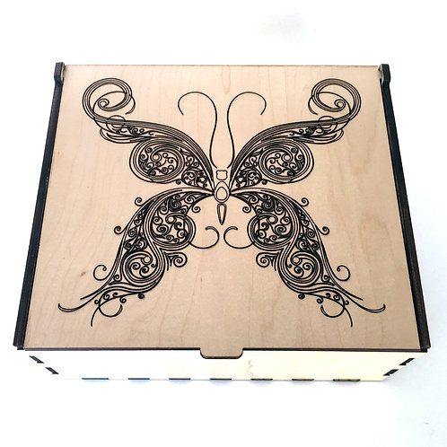 Fancy Swirl Butterfly Essential Oil Storage Box - Large