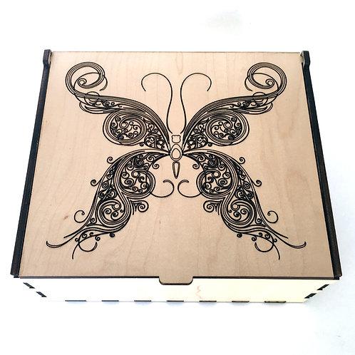 Fancy Swirl Butterfly Essential Oil Storage Box - Medium