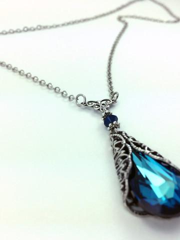Bermuda Blue Crystal Necklace