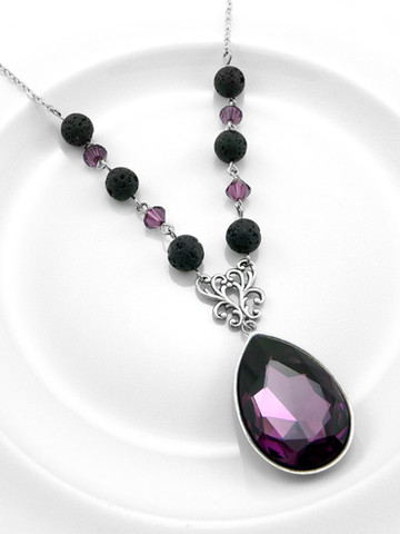 Amethyst Lava EO Necklace