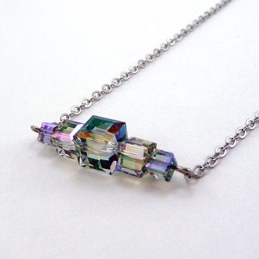 Green Crystal Bar Necklace