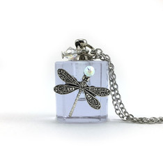 Purple Dragonfly Bottle Necklace
