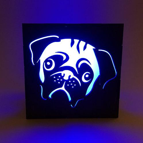 Wood Pug LED Lantern