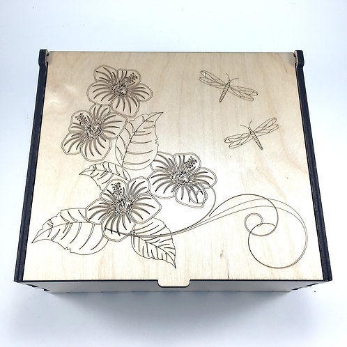 Flowers and Dragonflies Essential Oil Storage Box - Large