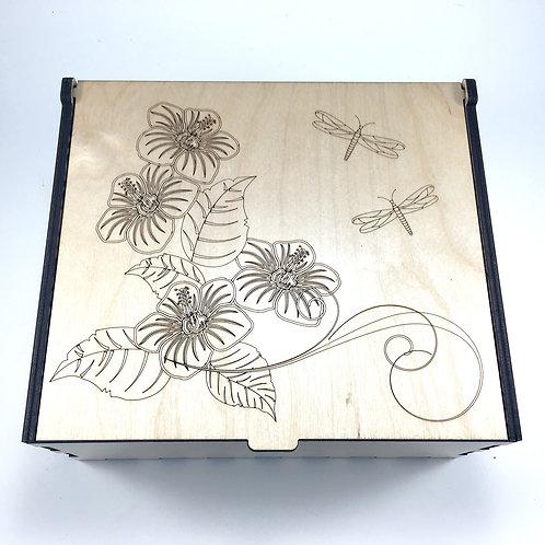 Flowers and Dragonflies Essential Oil Storage Box - Medium