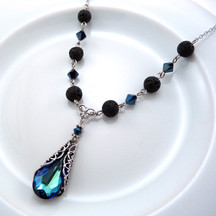 Blue Crystal Lava EO Necklace
