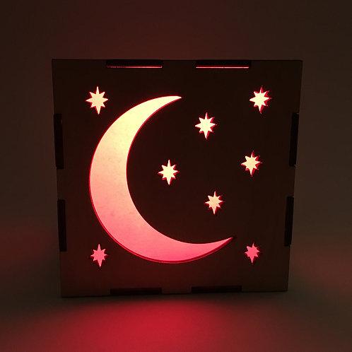 Wood Moon and Stars Celestial LED Lantern