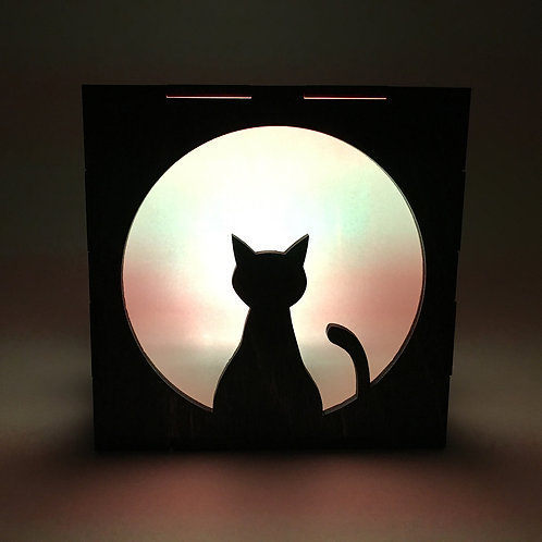 Wood Cat LED Lantern