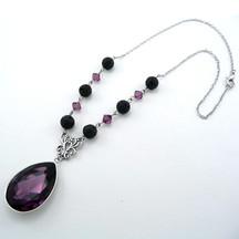 Purple Crystal Lava Necklace