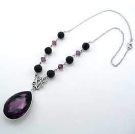 Purple Crystal Lava Necklace