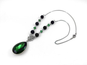 Green Crystal Lava EO Necklace