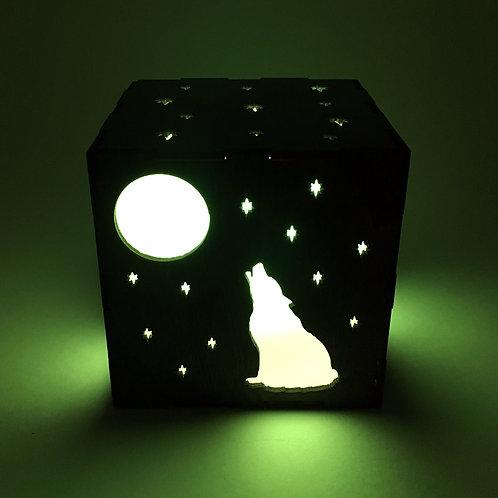 Howling Wolf Wood LED Lantern