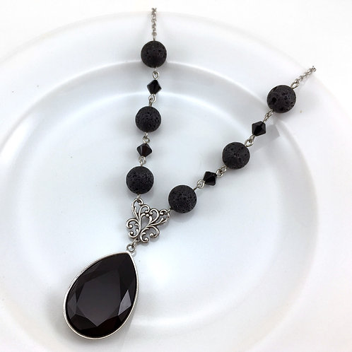 Black Crystal Essential Oil Necklace with Lava Beads