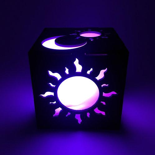 Sun and Moon Wood LED Lantern