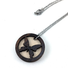 Butterfly Wood EO Necklace