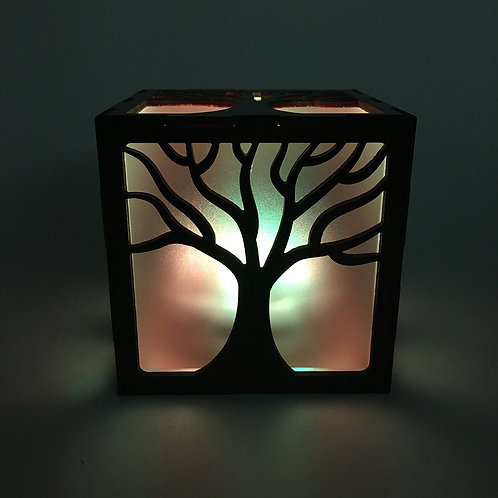 Wood Rustic Tree LED Lantern