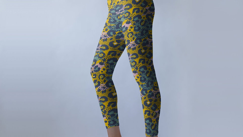 Super-Stretchy Yellow Leopard Yoga Leggings