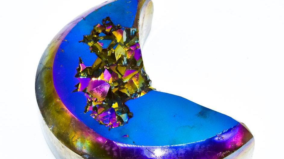 Rainbow Agate Druzy Moon