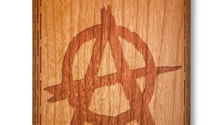 6 Oz. Wooden Hip Flask (Anarchy Symbol in American Cherry)