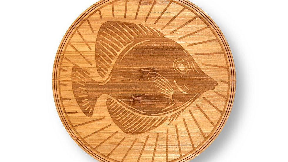 "Wooden Coasters 4"" (Yellow Tang in Bamboo) 4-Pack"