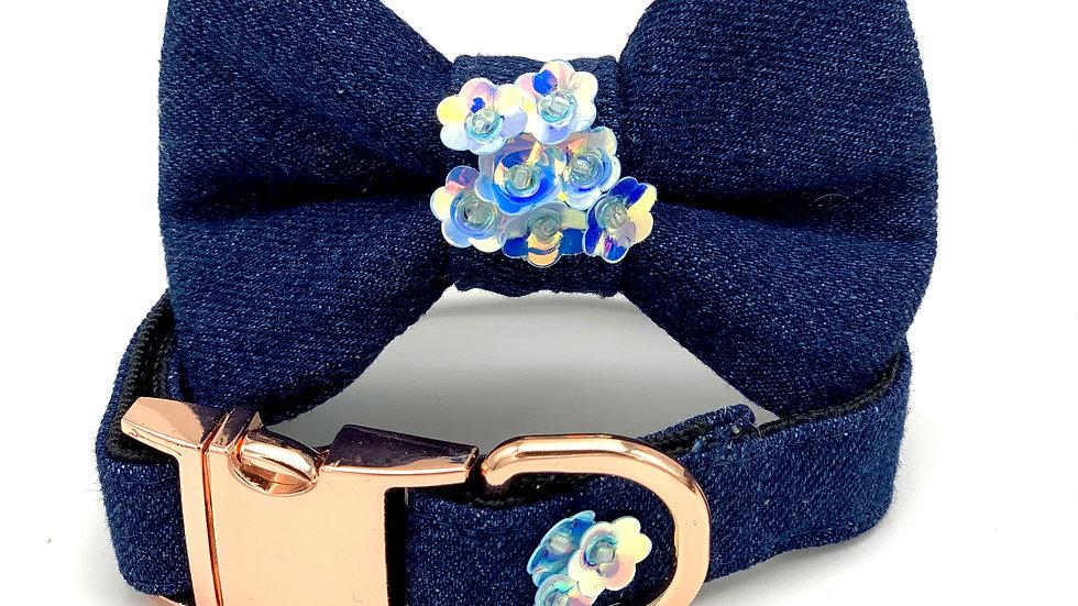 Blue Denim Garden Flowers Collar & Bow Tie Set