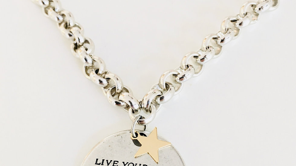 Message Necklace in Silver and Gold Star Charm