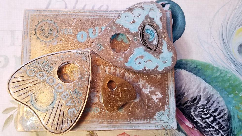 """""""Ocean Eyes"""" Orgone Ouija Board Set (2 planchettes & 1 mini)"""