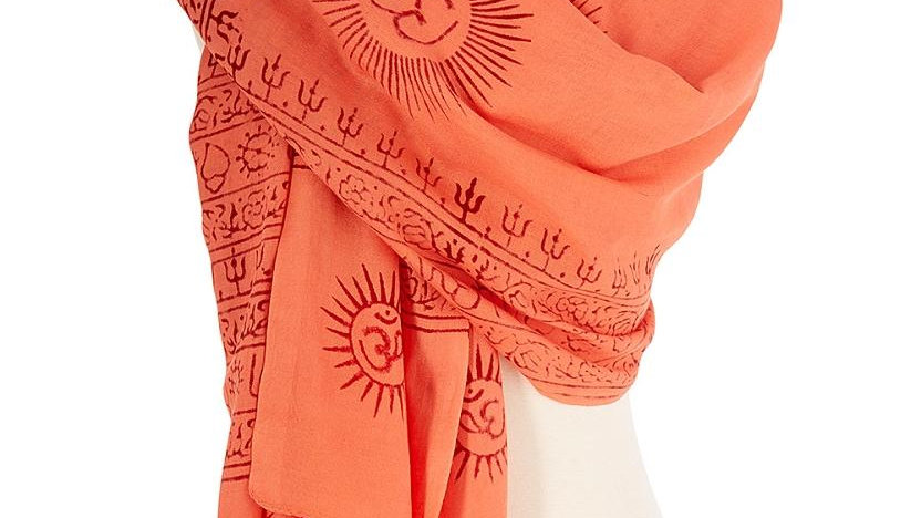 OM Hindu Yoga Meditation Prayer Shawl - Large Color Base