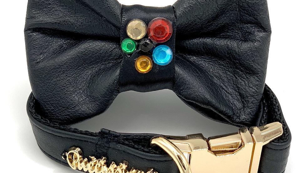 Genuine Black Leather Crystal Collar & Bow Tie
