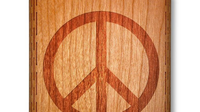 6 Oz. Wooden Hip Flask (Peace Symbol in American Cherry)