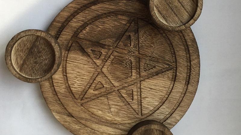 Pentagram Wood Candle holder