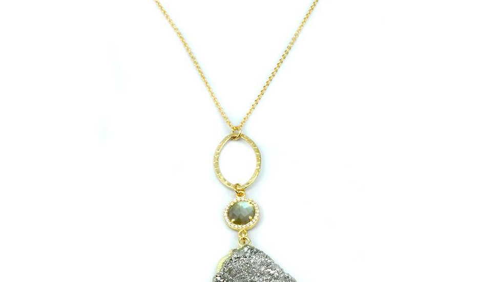 Druzy and Labradorite Necklace