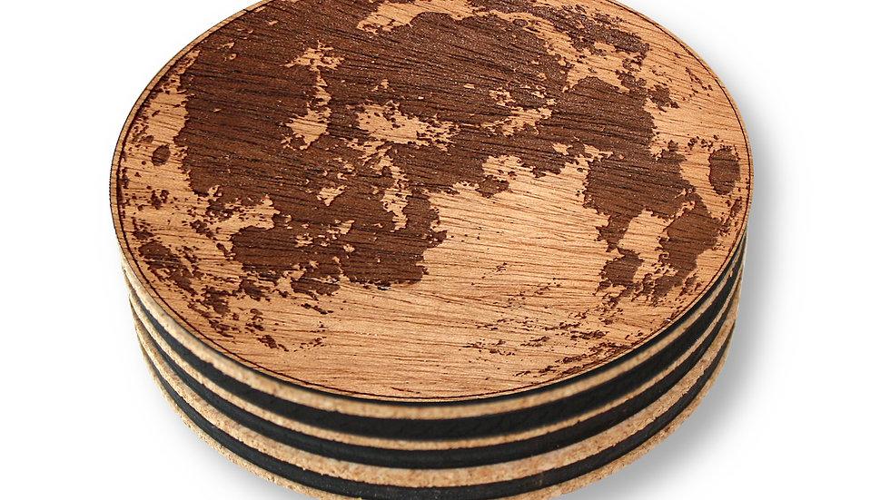 "Wooden Coasters 4"" (Full Moon in Mahogany) 4-Pack"