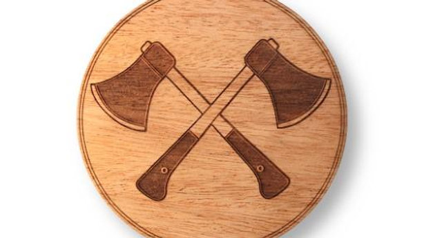 """Wooden Coasters 4"""" (Crossed Hatchets in Mahogany) 4-Pack"""